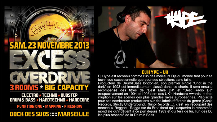 23/11/13-Excess Overdrive @ Marseille - 3ROOMS/ ELECTRO ► TECHNO ► DUBSTEP ► DRUM&BASS ►HARDTECHNO ► HARDCORE 1-HYPE-700x393