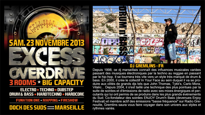 23/11/13-Excess Overdrive @ Marseille - 3ROOMS/ ELECTRO ► TECHNO ► DUBSTEP ► DRUM&BASS ►HARDTECHNO ► HARDCORE 19-GREMLINS-700x393