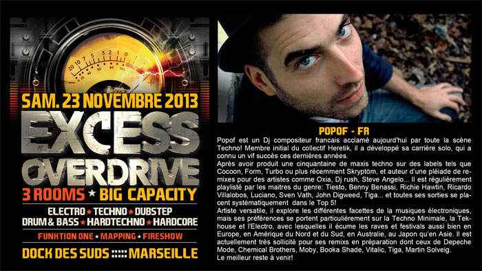 23/11/13-Excess Overdrive @ Marseille - 3ROOMS/ ELECTRO ► TECHNO ► DUBSTEP ► DRUM&BASS ►HARDTECHNO ► HARDCORE 2-popof700x393