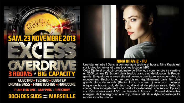 23/11/13-Excess Overdrive @ Marseille - 3ROOMS/ ELECTRO ► TECHNO ► DUBSTEP ► DRUM&BASS ►HARDTECHNO ► HARDCORE 5-kraviz700x393