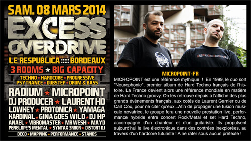 08/03/2014 - Bordeaux- EXCESS OVERDRIVE - w/ Radium, Micropoint, Protonica… MICROPOINT-bordeaux-affiche
