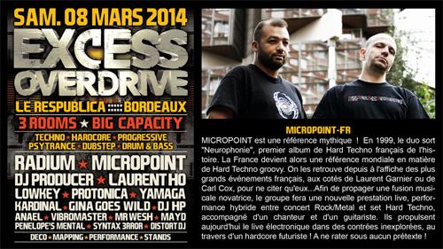 08/03/2014 - Bordeaux- EXCESS OVERDRIVE - w/ Radium, Micropoint, Protonica… MICROPOINT-bordeaux-affiche