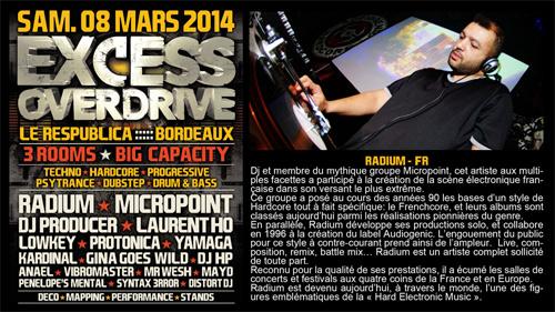 08/03/2014 - Bordeaux- EXCESS OVERDRIVE - w/ Radium, Micropoint, Protonica… RADIUM-bordeaux-affichette