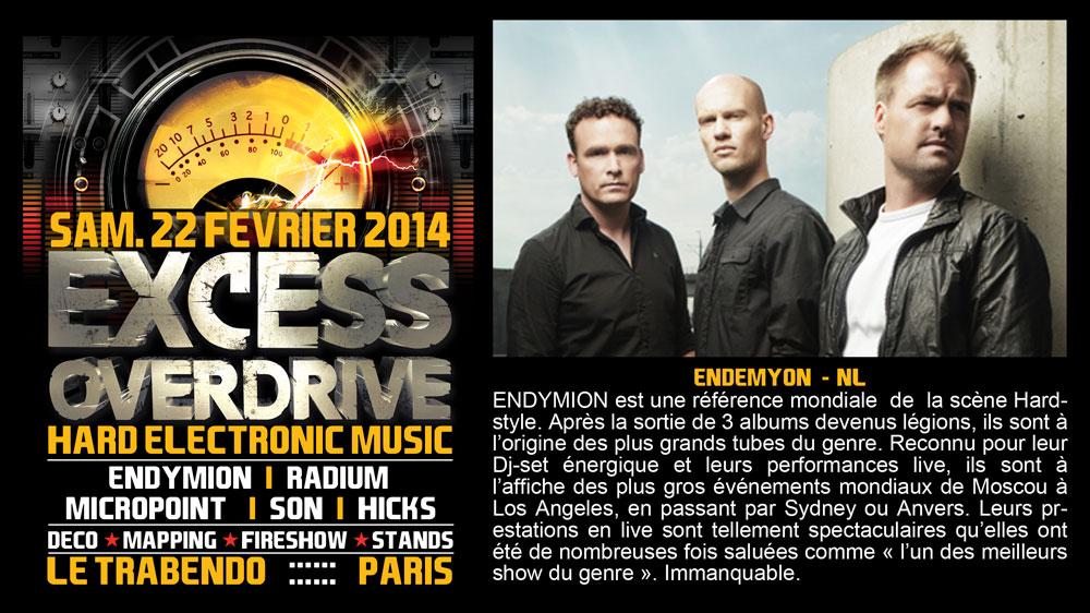 22/02 EXCESS OVERDRIVE Paris – Micropoint, Radium, Endymion Endymion-paris